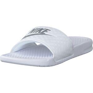 Nike Wmns Benassi Just Do It White/metallic Silver, Sko, Sandaler og Tøfler, Sandaler, Sølv, Hvit, Dame, 35