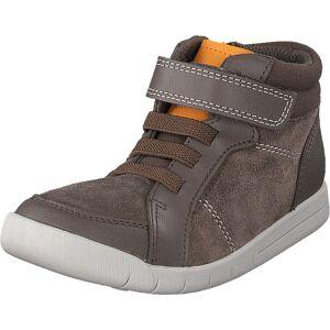 Clarks Emery Beat T Brown Leather, Sko, Sneakers & Sportsko, Høye Sneakers, Brun, Barn, 26