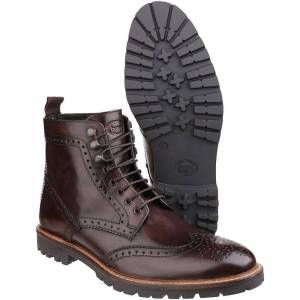 Base London Mens Troop Lace up Casual Leather Boots Tan UK Size 6 (...