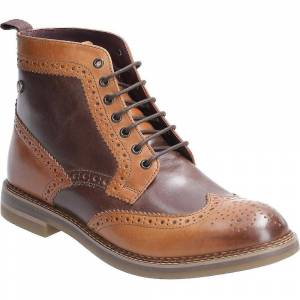Base London Mens Banner Burnished Lace Up Brogue Boots Brown/Navy U...