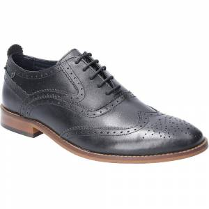 Base London Mens Focus Waxy Lace Up Brogue Oxford Shoes Black UK Si...