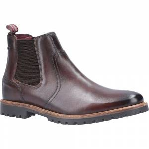 Base London Mens Wilkes Washed Leather Pull On Chelsea Boots Brown ...