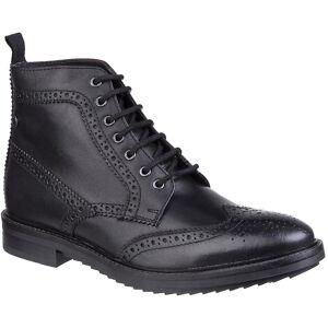 Base London Mens Hopkins Waxy Brogue Oxford Biker Boots Black UK Si...