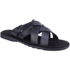 Base London Mens Apollo Waxy Leather Cross Strap Summer Sandals Bla...