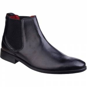 Base London Mens Cheshire Waxy Pull On Leather Smart Dress Ankle Bo...