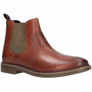 Base London Mens Piper Waxy Leather Clelsea Ankle Boots Tan UK Size...