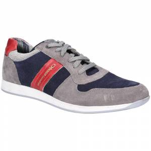 Base London Mens Eclipse Suede Lace Up Casual Trainers Grey/Navy 10