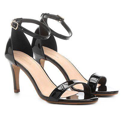 Sandália Shoestock Naked Salto Fino Verniz Feminina - Feminino-Preto