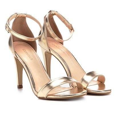 Sandália Shoestock Salto Fino Metalizada Feminina - Feminino-Dourado