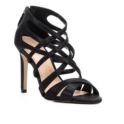 Sandália Shoestock Salto Fino Tiras Cruzadas Feminina - Feminino-Preto