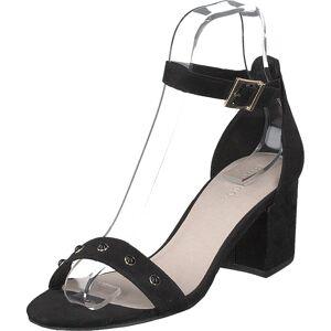 Bianco Belle Pearl Sandal 101 - Black 1, Kengät, Korkokengät, Matalakorkoiset Sandaletit, Musta, Naiset, 41