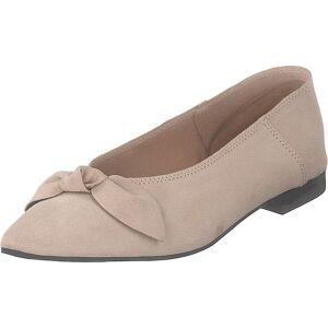 Bianco Berna Suede Bow Shoe 281 - Sand 1, Kengät, Matalapohjaiset kengät, Ballerinat, Ruskea, Beige, Naiset, 39