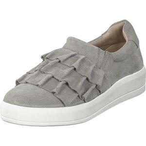 Bianco Betina Suede Frill Shoe 151 - Light Grey 1, Kengät, Matalapohjaiset kengät, Kävelykengät, Harmaa, Naiset, 39