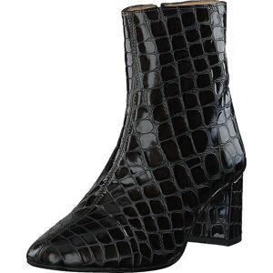 Angulus Block Heel Boot With Zipper Olive Croco, Kengät, Saappaat ja Saapikkaat, Korkeat nilkkurit, Harmaa, Naiset, 38