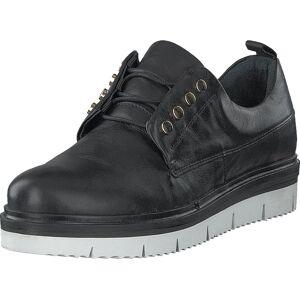 Bianco Biastella Leather Laced Shoe Black, Kengät, Matalat kengät, Kävelykengät, Musta, Harmaa, Naiset, 36