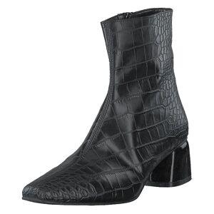 NA-KD Croco Basic Boots Black, Naiset, Kengät, Saappaat, Harmaa, EU 37