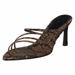 NA-KD Strappy Pointy Sandals Snake, Naiset, Kengät, Sandaalit, Ruskea, EU 39