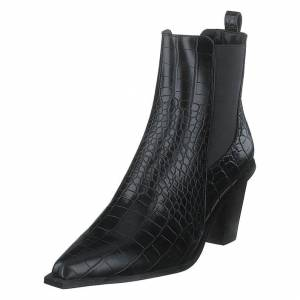 NA-KD Croc Pointy Block Heel Black, Naiset, Kengät, Saappaat, Musta, EU 38
