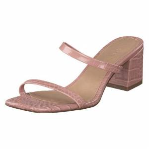 NA-KD Croc Squared Strap Sandals Dusty Pink, Naiset, Kengät, Matalat  korot, Vaaleanpunainen, EU 38