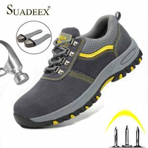 SUADEEX Steel Toe Cap Work Shoes Outdoor Construction Boots Male Female Puncture Proof Safety Shoes Industrial Working Sneakers