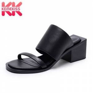 KemeKiss Real Leather Women Sandals Thick Heel Open Toe Casual Shoes Women Solid Color Normal Beach Female Footwear Size 34-39