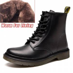 QUANZIXUAN Genuine Leather Women Boots Ankle Boots Winter Work Safeti Boots Solid Ankle Boots Female Punk Women Shoe Size 46