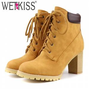 WETKISS Motorcycle Boots Women Ankle Boot Female High Heels Shoes Ladies Lace Up Round Toe Shoes Women Winter Big Size 48