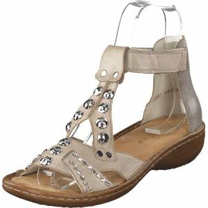 Rieker 60816-64 Grey, Sko, Pumps & Høyhælte, Sandaletter med lave hæler, Beige, Brun, Dame, 41