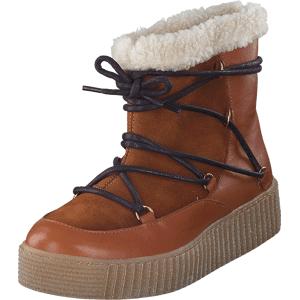 Pieces Paccia Leather Boot Cognac, Sko, Boots, Kraftige støvler, Rosa, Brun, Dame, 36