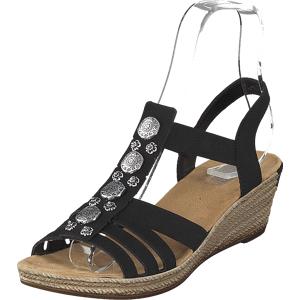 Rieker 624b4-00 Black, Sko, Pumps & Høyhælte, Sandaletter med lave hæler, Brun, Dame, 38