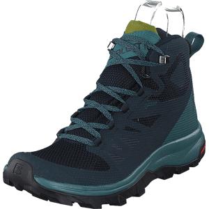 Salomon Outline Mid Gtx® W Navy Blazer/hydro./guacamole, Sko, Boots, Vandreboots, Turkis, Blå, Dame, 39