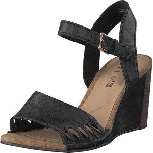 Clarks Spiced Poppy Black Leather, Sko, Pumps & Høyhælte, Sandaletter med lave hæler, Svart, Dame, 40