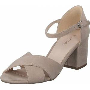 Bianco Biacate Suede Cross Sandal 271 Nougat 1, Sko, Høyhælte, Pumps med lave hæler, Brun, Dame, 38