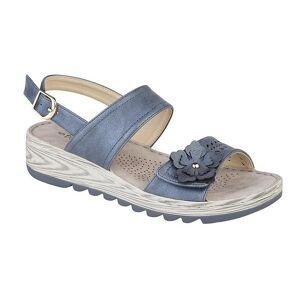 Boulevard kvinners/damer metallisk stoppet tilbake blomst sandaler Blå metallic 4 UK