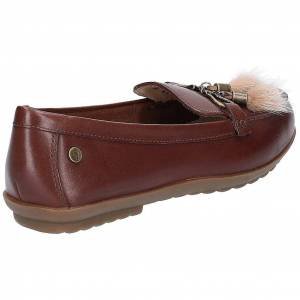 Hush Puppies Hush valper kvinners/damer noaidi skinn Puff Loafers Brown 6 UK