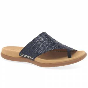 Gabor Lanzarote Womens Printed Toe Loop Mules Bluette Mississippi 6...