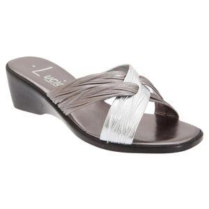 Lucia kvinners/damer X Over muldyr sandaler Sort Matt/Patent 5 UK