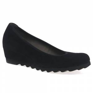 Gabor Request Womens Modern Wedge Court Shoes Black Suede Uk 2.5