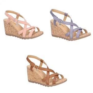 Hush Puppies Hush valper kvinner/damer Pekingese Wedge hæler sandaler Fersken 8 UK