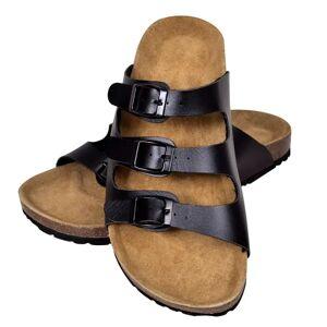 vidaXL Svart Unisex Bio Sandaler med Korksåler 3 Reimer og 3 Spenner 38