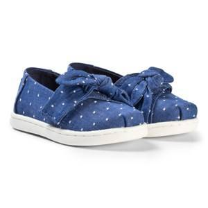 Toms Imperial Blue Chambray Bow Tiny TOMS Classics 22 (UK 5)