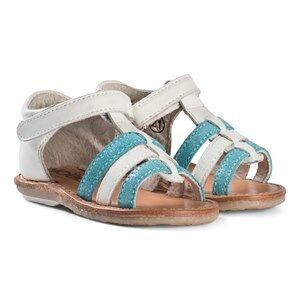Nol White and Aqua Leather Velcro Mini Servi Sandals 25 (UK 8)