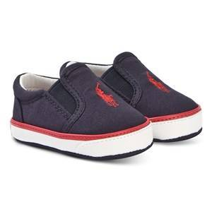 1d6a104c Ralph Lauren Navy Canvas with Red Bal Harbour Slip On Trainers 17 (UK 1.5)