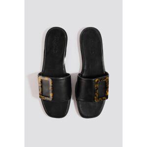 NA-KD Shoes Big Buckle Flats - Black