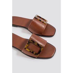 NA-KD Shoes Big Buckle Flats - Brown