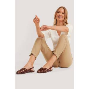 NA-KD Shoes Embossed Leather Crossed Straps Sandals - Brown