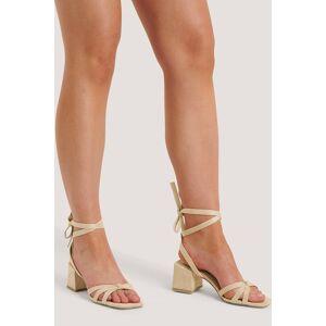 NA-KD Shoes Faux Suede Ankle Strap Heels - Beige
