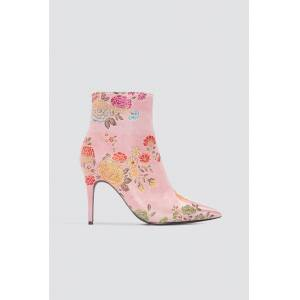 NA-KD Shoes Jacquard Flower Satin Boots - Pink