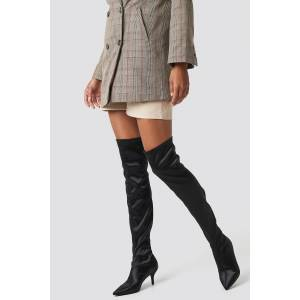 NA-KD Shoes Knee High Satin Sock Boot - Black
