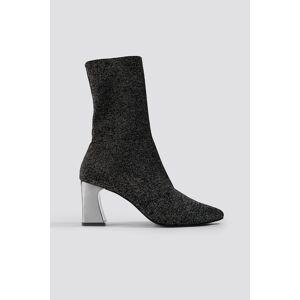 NA-KD Shoes Metallic Heel Glitter Sock Boots - Black